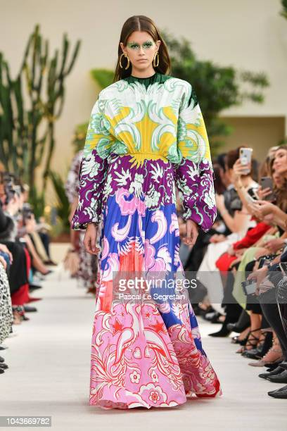 Kaia Gerber walks the runway during the Valentino show as part of the Paris Fashion Week Womenswear Spring/Summer 2019 on September 30 2018 in Paris...
