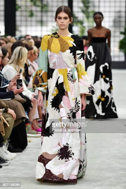 Kaia Gerber walks the runway during the Valentino show as part of the Paris Fashion Week Womenswear Fall/Winter 2018/2019 on March 4 2018 in Paris...