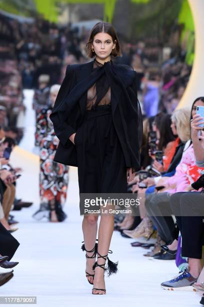 Kaia Gerber walks the runway during the Valentino Womenswear Spring/Summer 2020 show as part of Paris Fashion Week on September 29, 2019 in Paris,...