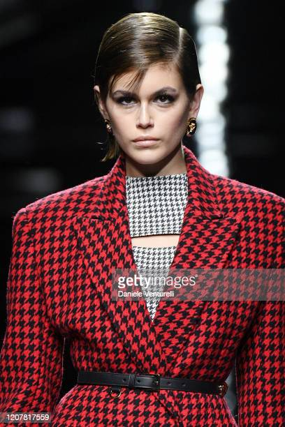 Kaia Gerber walks the runway during the Versace fashion show as part of Milan Fashion Week Fall/Winter 2020-2021 on February 21, 2020 in Milan, Italy.