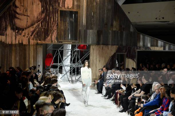 Kaia Gerber walks the runway for Calvin Klein Collection during New York Fashion Week on February 13 2018 in New York City
