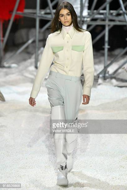 Kaia Gerber walks the runway for Calvin Klein Collection Ready to Wear Fall/Winter 20182019 fashion show during New York Fashion Week on February 13...
