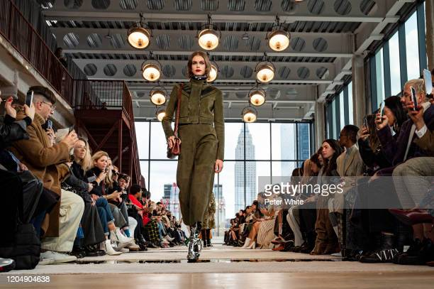 Kaia Gerber walks the runway for Longchamp fashion show during February 2020 - New York Fashion Week: The Shows at Hudson Commons on February 08,...
