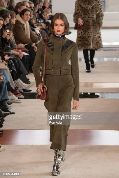 Kaia Gerber walks the runway for Longchamp Ready to Wear Fall/Winter 2020 fashion show during February 2020 at Hudson Commons on February 08, 2020 in...