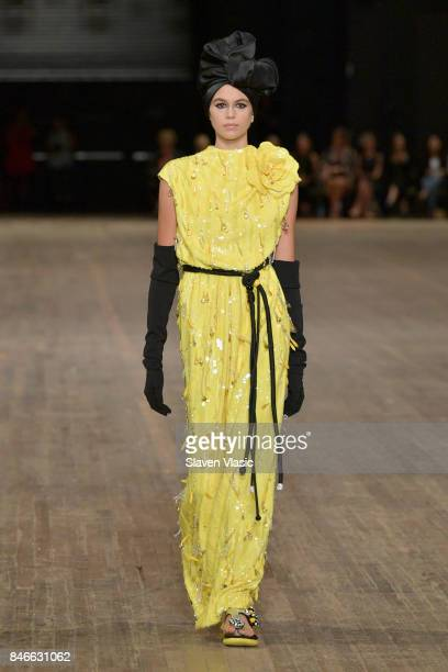 Kaia Gerber walks the runway for Marc Jacobs SS18 fashion show during New York Fashion Week at Park Avenue Armory on September 13 2017 in New York...