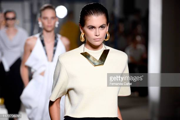 Kaia Gerber walks the runway for Proenza Schouler during New York Fashion Week The Shows on September 10 2019 in New York City