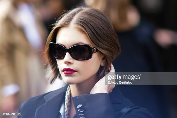 Kaia Gerber wears sunglasses, outside Longchamp, during New York Fashion Week Fall-Winter 2020, on February 08, 2020 in New York City.