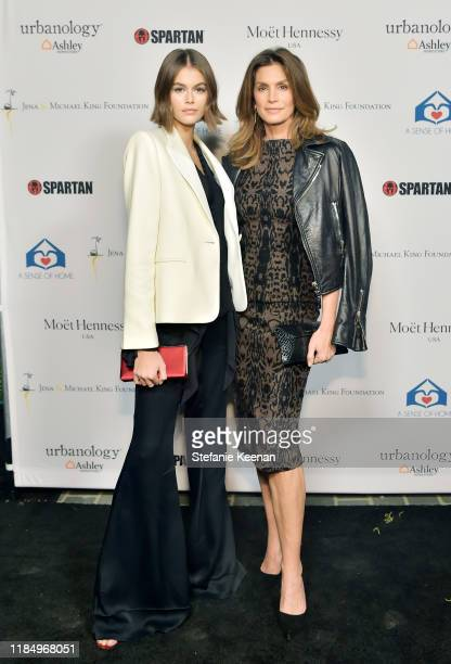 Kaia Jordan Gerber and Cindy Crawford attend A Sense Of Home's First Ever Annual Gala The Backyard Bowl at a Private Residence on November 01 2019 in...