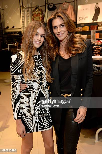 Kaia Jordan Gerber and model Cindy Crawford attend the Balmain x HM Los Angeles VIP PreLaunch on November 4 2015 in West Hollywood California