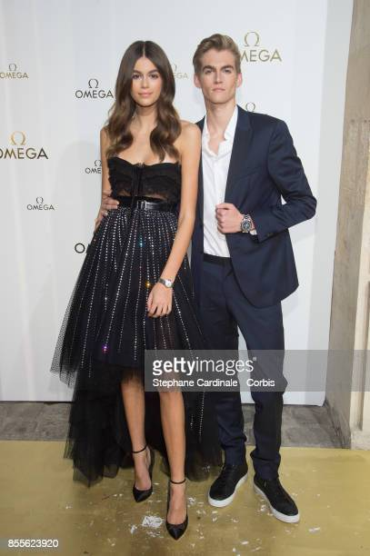 Kaia Jordan Gerber and Presley Walker Gerber attend the Her Time Omega Photocall as part of the Paris Fashion Week Womenswear Spring/Summer 2018 at...