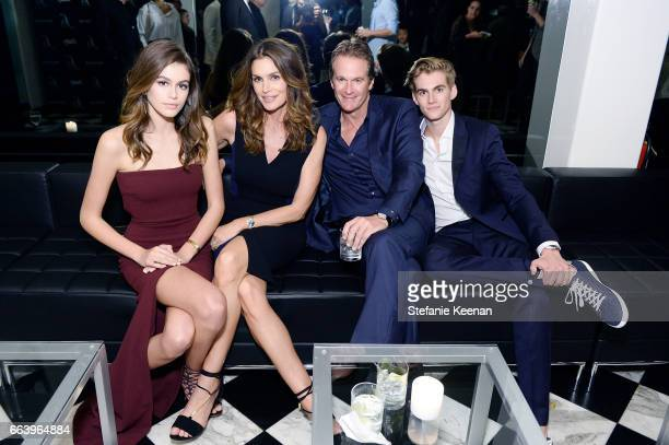 Kaia Jordan Gerber Cindy Crawford Rande Gerber and Presley Walker Gerber attend The Daily Front Row and REVOLVE FLA after party at Mr Chow hosted by...