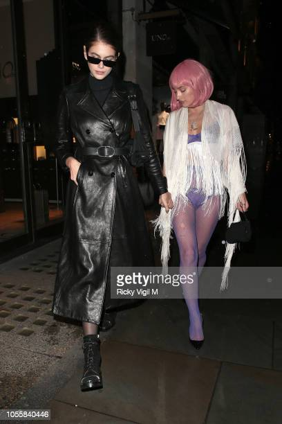 Kaia Jordan Gerber seen at Fran Cutler's Halloween Party on October 31, 2018 in London, England.