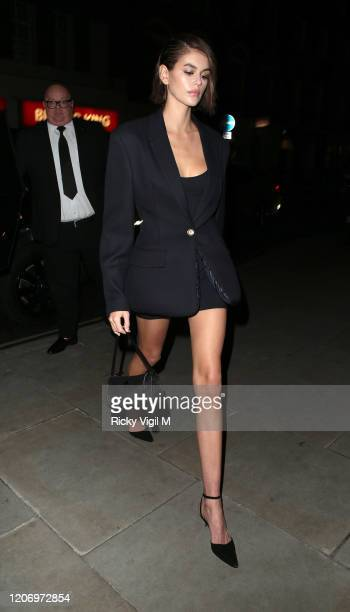 Kaia Jordan Gerber seen attending LOVE Magazine party at The Standard during LFW February 2020 on February 17 2020 in London England