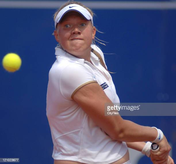 Kaia Kanepi in action against Lourdes Dominguez Lino during their second round match in the 2006 Estoril Open in Estoril, Portugal on May 4, 2006.