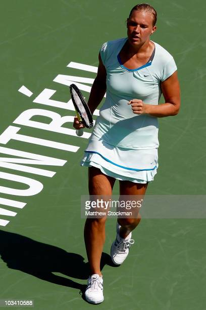 Kaia Kanepi of Estonia celebrates a point against Shahar Peer of Israel during the Rogers Cup at Stade Uniprix on August 16 2010 in Montreal Canada