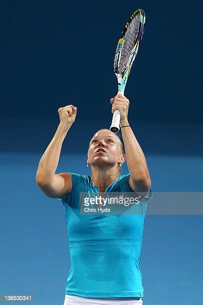 Kaia Kanepi of Estonia celebrates after winning the Womens final against Daniela Hantuchova of Slovakia during day seven of the 2012 Brisbane...