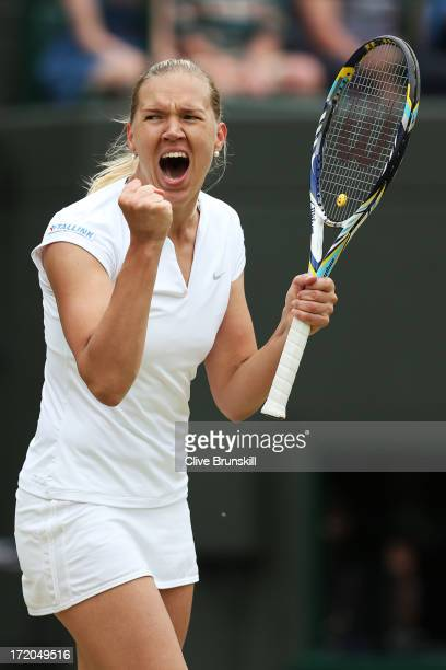 Kaia Kanepi of Estonia celebrates match point during her Ladies' Singles fourth round match against Laura Robson of Great Britain on day seven of the...