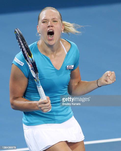 Kaia Kanepi of Estonia celebrates victory after her quarter final match against Andrea Petkovic of Germany during day five of the 2012 Brisbane...