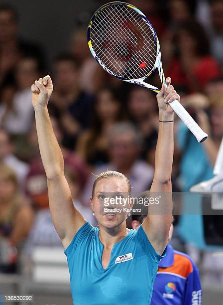 Kaia Kanepi of Estonia celebrates victory against Daniela Hantuchova of Sovlakia after their Women's final match during day six of the 2012 Brisbane...