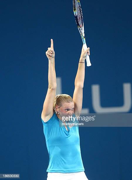 Kaia Kanepi of Estonia celebrates victory against Daniela Hantuchova of Sovlakia after their Women's final matchduring day seven of the 2012 Brisbane...