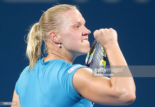 Kaia Kanepi of Estonia celebrates winning a point against Daniela Hantuchova of Sovlakia during the Women's final match during day six of the 2012...
