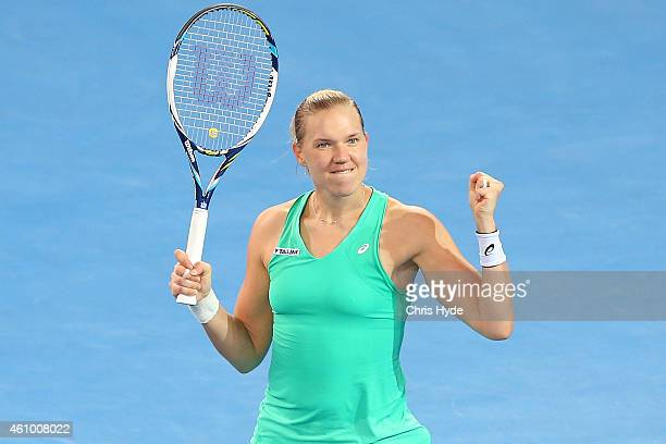 Kaia Kanepi of Estonia celebrates winning her match against Andrea Petkovic of Germany during day one of the 2015 Brisbane International at Pat...