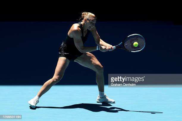 Kaia Kanepi of Estonia plays a backhand in her match against Astra Sharma of Australia during day one of the WTA 500 Gippsland Trophy at Melbourne...
