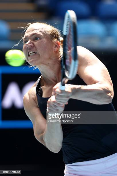 Kaia Kanepi of Estonia plays a backhand in her Women's Singles third round match against Donna Vekic of Croatia during day six of the 2021 Australian...