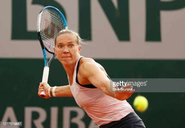 Kaia Kanepi of Estonia plays a forehand during her Women's Singles second round match against Elise Mertens of Belgium on day four of the 2020 French...