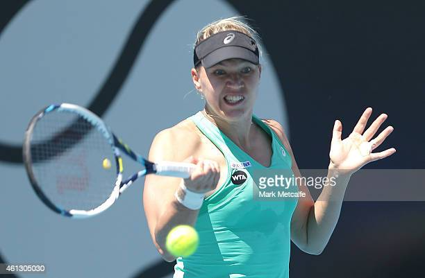 Kaia Kanepi of Estonia plays a forehand in her first round match against Monica Puig of Puerto Rico during day one of the 2015 Hobart International...