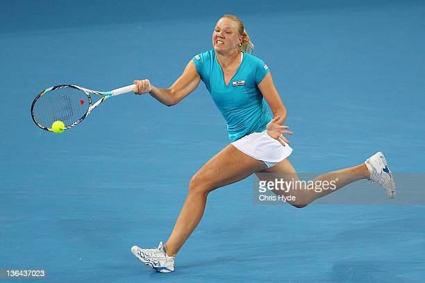 Kaia Kanepi of Estonia plays a forehand in her quarter final match against Andrea Petkovic of Germany during day five of the 2012 Brisbane...
