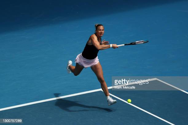 Kaia Kanepi of Estonia plays a forehand in her Women's SinglesFinal match against Elise Mertens of Belgium during day eight of the WTA 500 Gippsland...