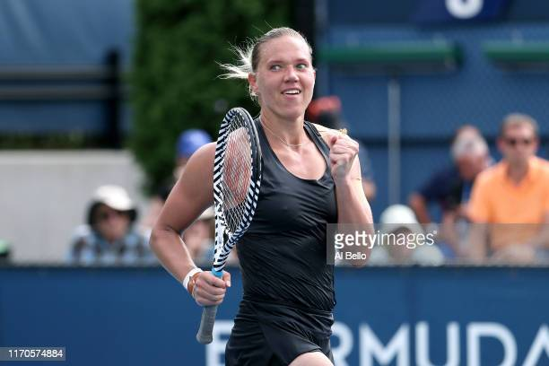 Kaia Kanepi of Estonia reacts against Tatjana Maria of Germany during their Women's Singles first round match on day two of the 2019 US Open at the...