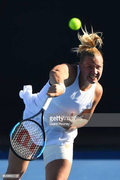 Kaia Kanepi of Estonia serves in her second round match against Monica Puig of Puerto Rico on day three of the 2018 Australian Open at Melbourne Park...