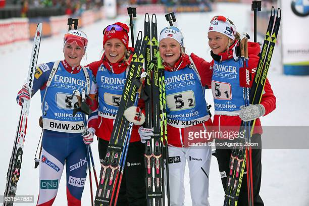 Kaia Woeien Nicolaisen Hilde Fenne Tiril Eckhoff Marte Olsbu of Norway take 3rd place during the IBU Biathlon World Cup Women's Relay on January 12...
