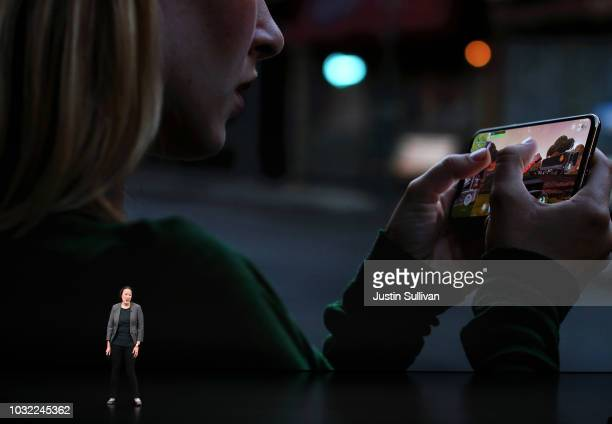 Kaiann Drance Apple's senior director iPhone Worldwide Product Marketing speaks at an Apple event at the Steve Jobs Theater at Apple Park on...