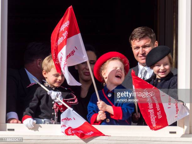 KaiaRose Wittstock Princess Gabriella of Monaco and Prince Jacques of Monaco stand at the Palace balcony during the Monaco National Day Celebrations...