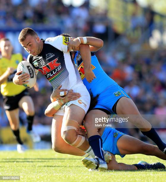 Kaide Ellis of the Panthers is tackled during the round six NRL match between the Penrith Panthers and the Gold Coast Titans on April 15 2018 in...