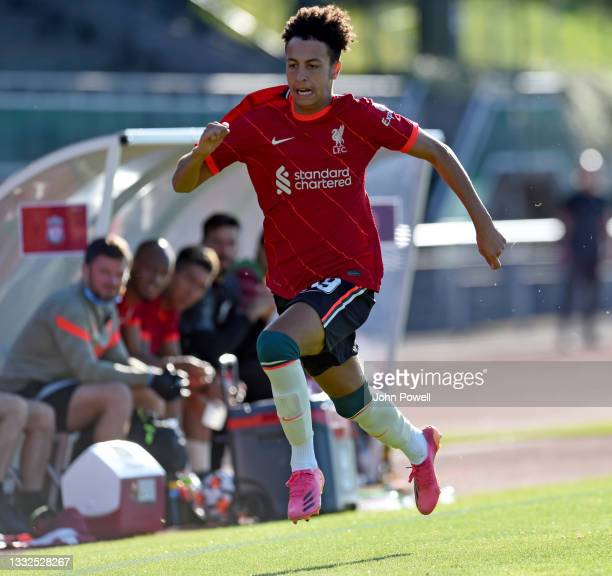 Kaide Gordon of Liverpool during the Pre Season match between Liverpool and Bologna on August 05, 2021 in Evian-les-Bains, France.