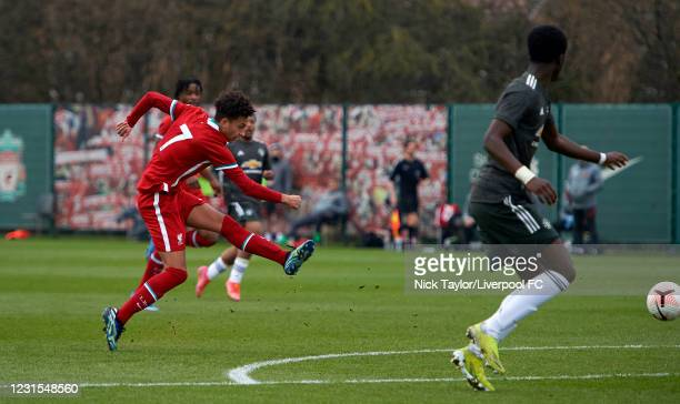 Kaide Gordon of Liverpool has a shot on goal during the U18 Premier League game between Liverpool and Manchester United at AXA Training Centre on...