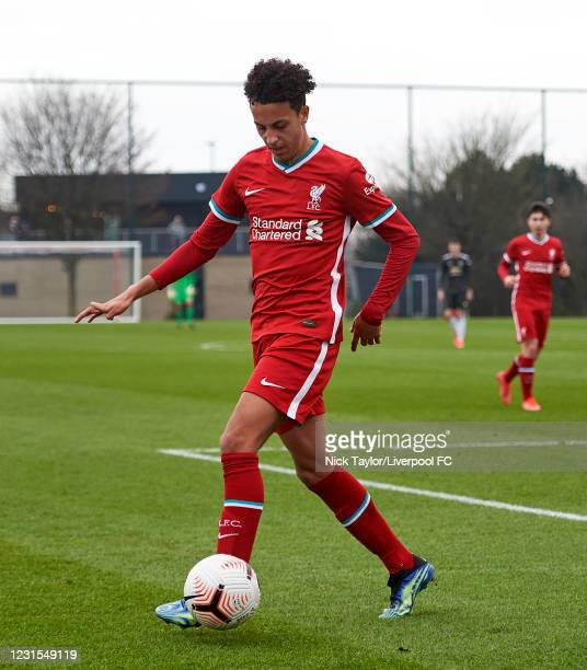 Kaide Gordon of Liverpool in action during the U18 Premier League game between Liverpool and Manchester United at AXA Training Centre on March 6,...