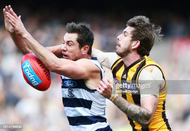 Kaiden Brand of the Hawks punches the ball from Daniel Menzel of the Cats during the round 21 AFL match between the Hawthorn Hawks and the Geelong...