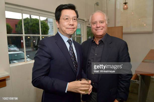 KaiFu Lee and Bob Sauerberg attend VIP Dinner For WIRED's 25th Anniversary Hosted By Nicholas Thompson And Anna Wintour at Tartine Manufactory on...