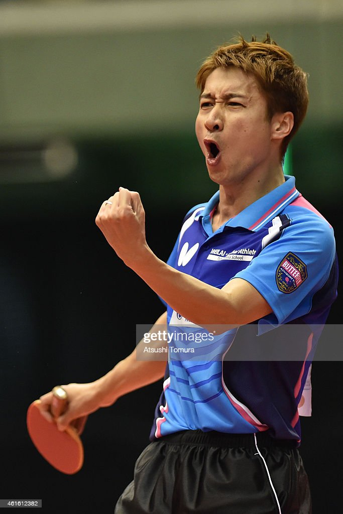 Kaii Yoshida of Japan celebrates after a point in the Men's Singles during day five of All Japan Table Tennis Championships 2015 at Tokyo Metropolitan Gymnasium on January 16, 2015 in Tokyo, Japan.