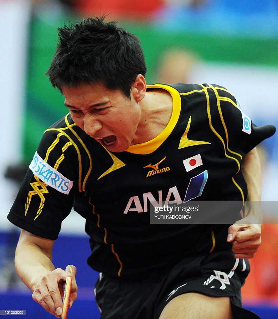 Kaii Yoshida of Japan reacts during the men's semi final against Ma Lin of China at the 2010 World Team Table Tennis Championships in Moscow on May 29, 2010.
