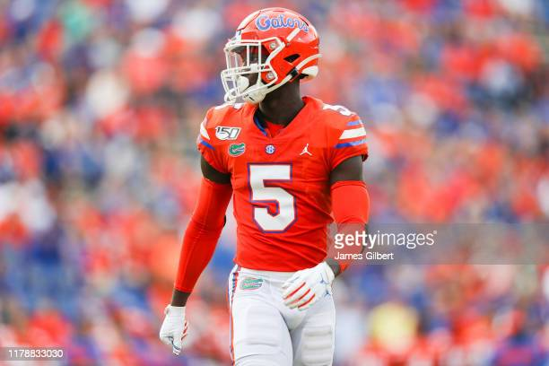 Kaiir Elam of the Florida Gators looks on during the fourth quarter of a game against the Towson Tigers at Ben Hill Griffin Stadium on September 28...