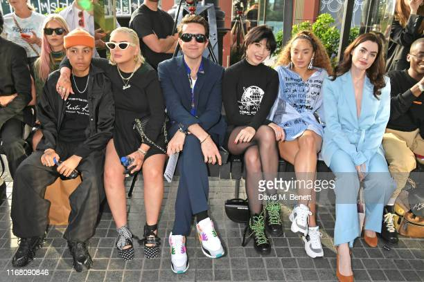 Kai-Isaiah Jamal, Cora Delaney, Nick Grimshaw, Daisy Lowe, Ella Eyre and Charli Howard attend the House Of Holland front row during London Fashion...
