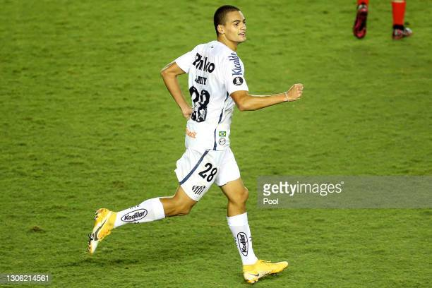 Kaiky of Santos celebrates after scoring the second goal of his team during a first leg match of second stage of Copa CONMEBOL Libertadores 2021...