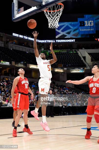 Kaila Charles of the Maryland Terrapins drives to the hoop against the Ohio State Buckeyes during the Championship game of Big Ten Women's Basketball...