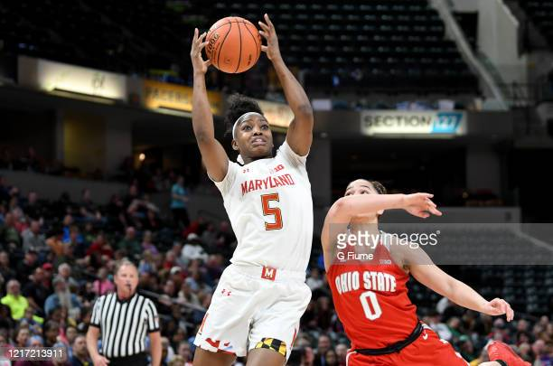Kaila Charles of the Maryland Terrapins grabs a rebound against the Ohio State Buckeyes during the Championship game of Big Ten Women's Basketball...